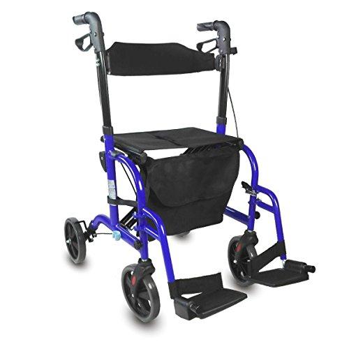 Rollator | Rollstuhl | 2 in 1 Gehgestell | Höhenverstellbar | Korb | Sitz | Blau | Picasso | Mobiclinic -