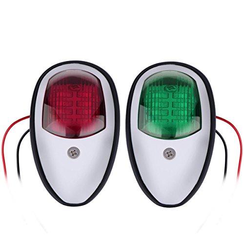 Boots-Navigationslichter, ONEVER Led Navigations-Lampe Grün und Rot Marine Led Steuerbord Topf Seitenlicht für Chandlery Boat Yacht Skeeter, DC 12-24V, Packung mit 2 -