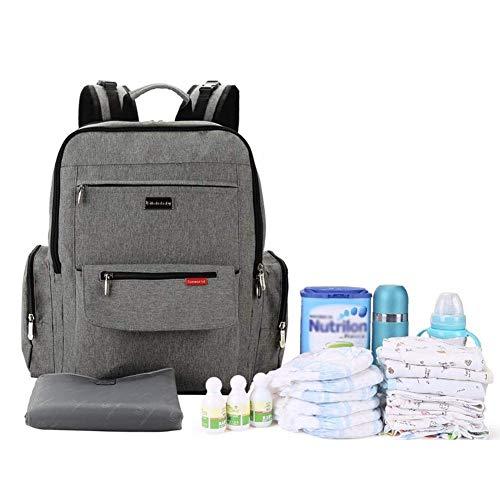 Preisvergleich Produktbild Oddity Multifunktions-Wickeltasche mit großer Kapazität, neutraler Stil, klassisch, grau, wasserfest, für Mama und Papa