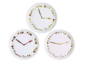 Excelsa Clock Set 6 Piatti Pizza, Porcellana, Bianco, 30x30x8 cm 6 unità