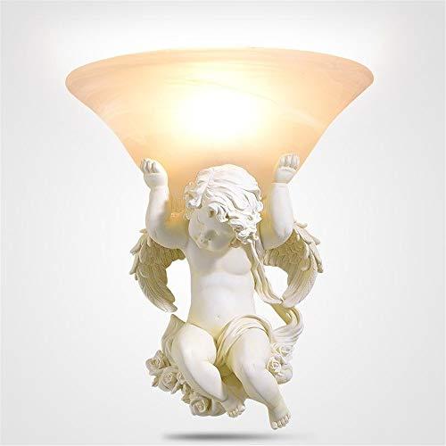 Résine d'art européen lampes murales lampes led décoration de salon beige lampe de mur ange E27 led lustre éclairage appliques,B,Right