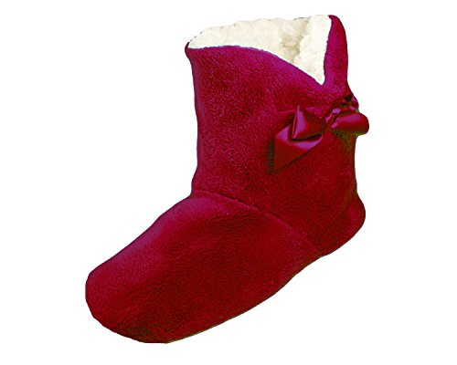 LADIES GIRLS LUXURIOUS SOFT AND COSY TOESTERS SLIPPER BOOTS-BURGUNDY