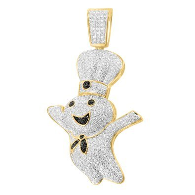 14 K oro finitura unico Pillsbury Chef Iced Out Black Lab diamante elegante ciondolo