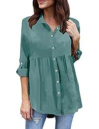 c3a4a1f5a6902 Modaworld Camisas con Botones Mujer Tallas Grandes de chifón Casual de Manga  Larga para Mujer Camiseta de Trabajo Señoras Blusas de…