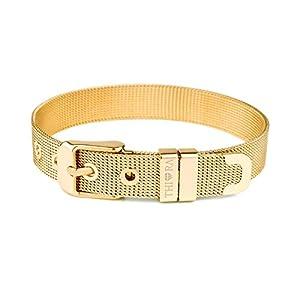 THIORA® – Mesh Armband Damen | Große Auswahl Charms | Premium Edelstahl veredelt | Charmband