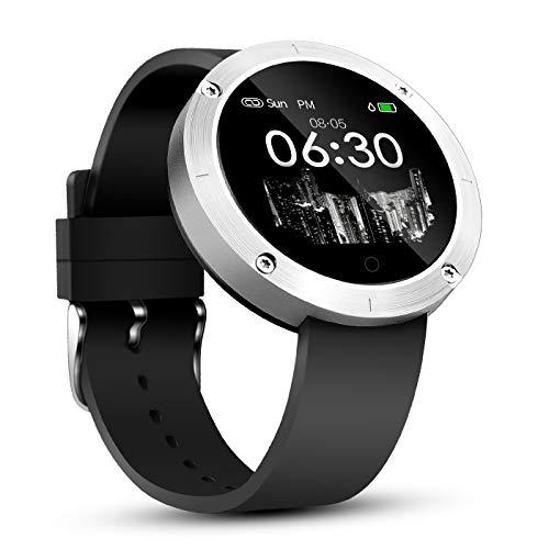 OUKITEL W5 Bluetooth Smartwatch Fitness Uhr Intelligente Armbanduhr Fitness Tracker Smart Watch Sport Uhr mit Schrittzähler Schlaftracker Romte Capture Kompatibel mit Android Smartphone(W5-Silber)