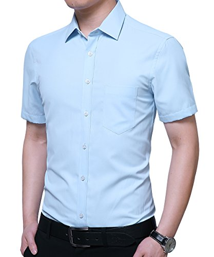 Kuson Herren Hemd Regular Fit Kurzarm für Business Hochzeit Freizeit Bügelleicht/Bügelfrei Reine Farbe Hemden Kurzarmhemd Hellblau XL