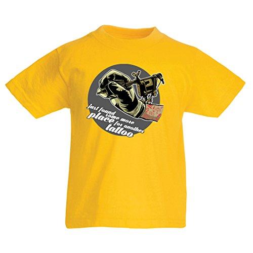 en/Mädchen T-Shirt Aerograph - Tätowierungs-Tinten-Maschine, ist Jeder Zoll Tätowiert, Coole Spitzen, Fan-Kleidung, Spaß-Geschenk-Ideen (9-11 Years Gelb Mehrfarben) (Texte Von Superhelden, Halloween)