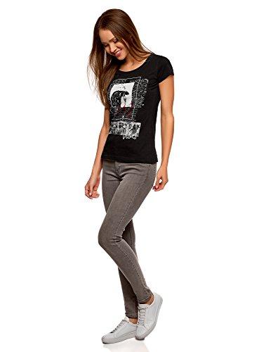 oodji Ultra Donna T-Shirt Stampata Nero (2912P)