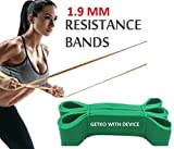 GETKO WITH DEVICE Fitness Rubber Bands Resistance Band Unisex Yoga, Gym Athletic Assisted Pull Up Bands Loop Expander for Exercise Sports Equipment (Green, 1.9 mm)