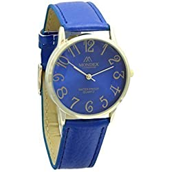 Unisex Gold Plated Mondex / Azaza / MABZ PU Leather Strap Watch (Blue Strap With Blue Dial)