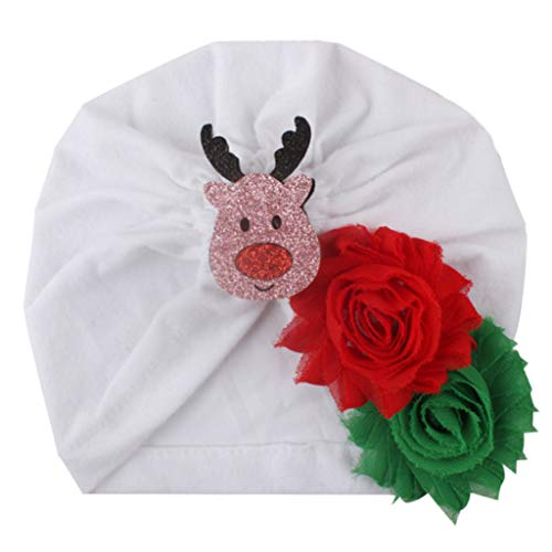 Zuanty Baby Weihnachten elastische Kappe Hut Cute Flash Pailletten Deer Santa Applique Flower Turban Cap-G
