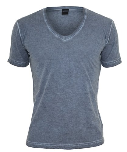 Urban Classics Herren T-Shirt Spray Dye V-Neck Tee Denimblue