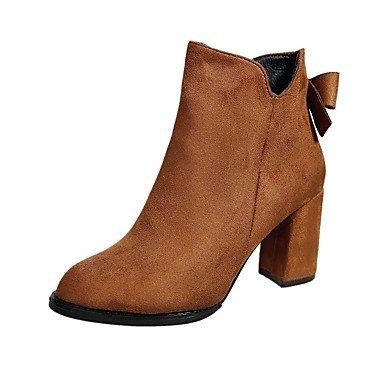 RTRY Scarpe donna pu cadere la moda Stivali Stivali Chunky tallone punta tonda Bowknot per Casual Nero Marrone US5.5 / EU36 / UK3.5 / CN35