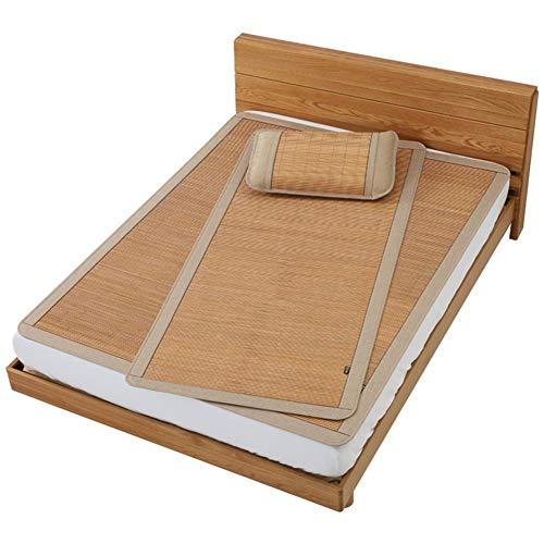 GUORRUI-Sommer-Schlafmatten Bambus Einzel Doppelbett Etagenbett Schlafsaal Schlafzimmer Glatt Kein Grat Mit Kissenbezug, 6 Größen (Farbe : A, größe : 80x195cm) (Etagenbett Schlafzimmer-sets)