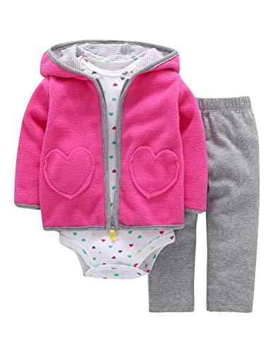 ARAUS Baby Kleidung Set Jungen Romper Langarm Sweatjacke Mädchen Outfits Hoodie Kombination 3-18 Monate -