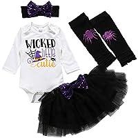 Vestido Niña Bebé recién Nacido Niños Niñas Estampado de Halloween Tops de Mameluco Conjunto de Falda de tutú sólido Conjuntos