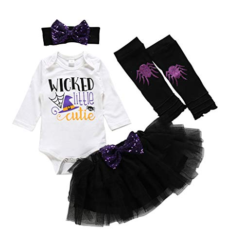 Toddler Star Kostüm Rock Boy - WEXCV Halloween Baby Kleidung Set, 4pcs Baby Kinder Mädchen Strampler + Tutu Rock + Stirnband + Beinwärmer Set Outfits Kleidung Halloween-Kostüm 0-24 Monate