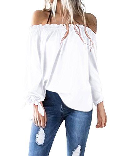 ACHIOOWA Damen Shirt Langarm Aus der Schulter Casual Oversize Tops Party Oberteil Trägerlos Strench Locker Tunika Weiß L