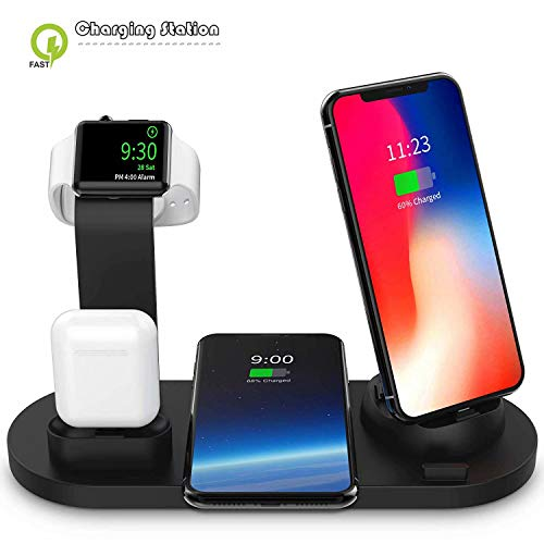 Wireless Charger, 4 in 1 Charging Station for Apple Watch and Airpods, Multi-Device Charging Cradle Qi Fast Wireless Charging Station Compatible with iPhone X/XS/XR/Xs Max/8/8 Plus