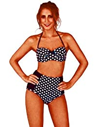 970fe40897 Ladies MARILYN 50 s Style Polka Dot Push Up Bikini - Halterneck Strapless  Bandeau High Waist