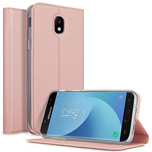 Funda Samsung Galaxy J5 2017 Carcasa, KuGi Slim Flip Cover Carcasa Cubierta de cuero PU Multi-Angle Shockproof Silicio Protectora de Carcasa con Soporte Plegable para Samsung Galaxy J5 2017 Smartphone(Slim Book Series -oro rosa)