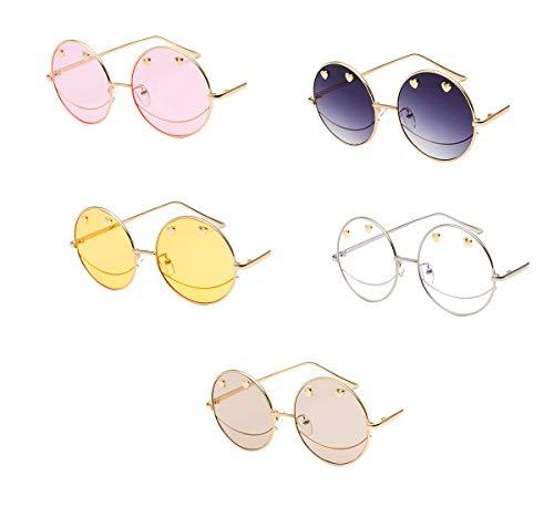 Tclothing Damen Metallrahmen Rund Hippie Brille Vintage-Stil Sonnenbrillen Polfilter Anti-Strahlung Brillen Mädchen Outdoor-Brille