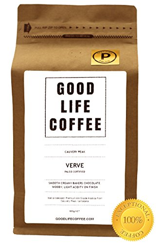GOOD LIFE – VERVE Paleo Certified, 100% Organic Coffee, Bulletproof Optimised, Premium Roasted Coffee from Cauvery Peak, Roasted to Order, Award Winning Single Origin Arabica Coffee Beans, Low Acidity Coffee – Impossibly Delicious Taste (250g) 4102mAzDkkL