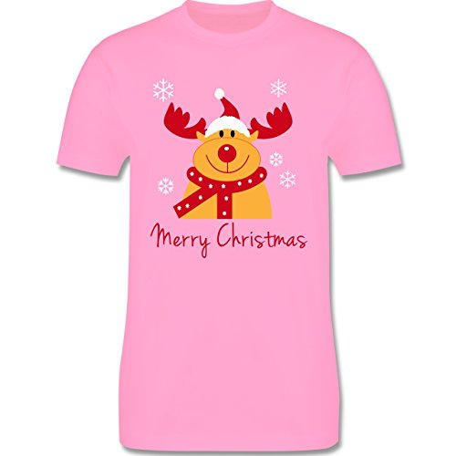 Weihnachten & Silvester - Merry Christmas Rentier - Herren Premium T-Shirt Rosa