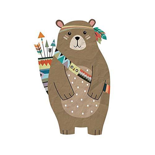 Scrox 1pcs Adhesivo de pared animal lindo oso pared Creativo Personalidad Papel pintado autoadhesivo...
