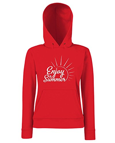 T-Shirtshock - Sweats a capuche Femme ENJOY0093 Enjoy the summer Rouge
