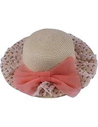 9e030ee10cab Lukis Chapeau Capeline Paille Fille Bébé Anti-UV Solaire Hat Nœud Papillon  Dentelle pour Eté