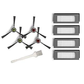 Seitenbürsten Feinstaubfilter Ersatzset für Deebot Ozmo 610 Zubehör für Ecovacs DD4G-KTA - 4 Seitenbürsten + 4 Filter Hepa + 1 Reinigungsbürste