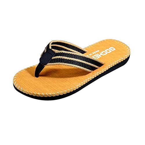 Oyedens Men's Sandals Beach Thong Shoes Casual Slides Indoor & Outdoor Flip-Flops (42=UK7.5, Khaki)