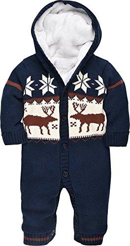 VADOOLL® Baby Jungen Mädchen Weihnachten Elch Winter Strickjacke Jumper Baby Mode Sweatshirt Langarm verdicken plus samt mit Kapuze Säugling Playsuit Klettern Kleidung (0-18 m)