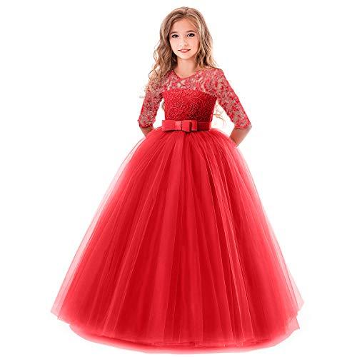 OBEEII Mädchen Kinder Abendkleid Blumenspitze Kurze Ärmel Elegante Ballkleid Cocktailkleid 5-6 Jahre Rot