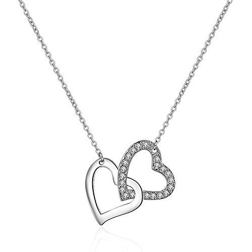 Argento sterling 925con doppio cuori ciondolo collana zirconia cubica con 45cm in argento sterling catena