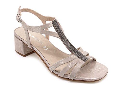 Carmens Padova sandali donna, tomaia pelle sfumata grigio/beige con accessorio, tacco alto 4,5 cm. (EU 38)
