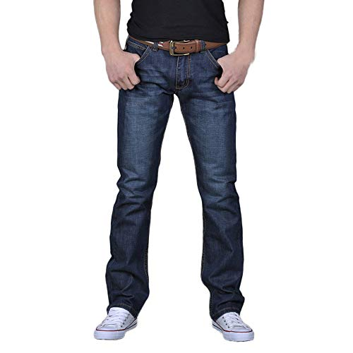 Pantalones Vaqueros Casual para Hombre Algodon Sueltos Pantalón Largos Tallas Grandes Pantalones Harem Vintage Cómodo Pantalón Jogger riou 28-38