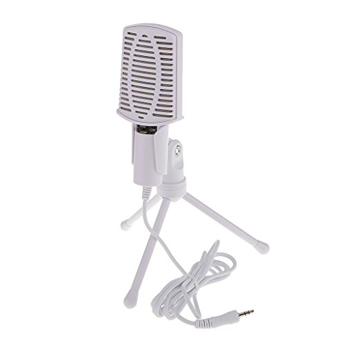Weiß 3,5 Mm Desktop-Ständer Mikrofon Diktiergerät Mikrofon Für Laptop-PC