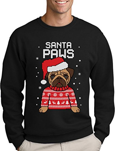 Santa Paws Pfoten - Mops Süßer Herren Weihnachtspullover Sweatshirt X-Large Schwarz (Hoodie Santa Paws)