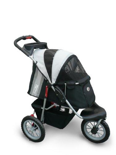 InnoPet Haustierbuggy, IPS-070, Schwarz/Silber, Transporttasche, Trolley, Comfort EFA Buggy. Faltbarer Haustier Buggy Kinderwagen Kinderwagen für Hunde und Katzen