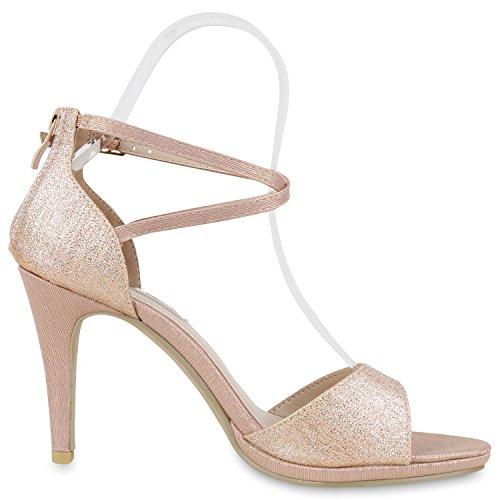 Japado Damen Riemchensandaletten Lack Sandaletten Glitzer Stilettos Party Schuhe Abendschuhe Abschlussball Hochzeit Rose Gold