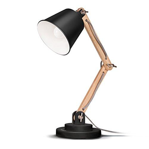 chreibtischlampe Leselampe Retro Design für Schreibtisch und Nachttisch, Designer-Lampe für Arbeitszimmer, Büro, Schlafzimmer und Wohnzimmer inkl. E27 LED-Leuchtmittel, Schwarz (Schwarz-schlafzimmer-schreibtisch)