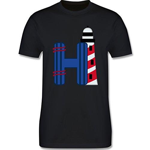 Anfangsbuchstaben - H Schifffahrt - Herren Premium T-Shirt Schwarz