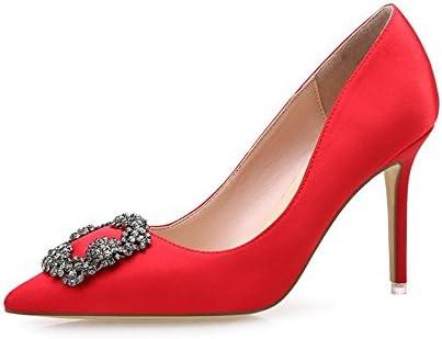 Fang-SDUDIO Los Tacones Altos con Superficialmente Hebillas para Zapatos De Mujer,Gules,36