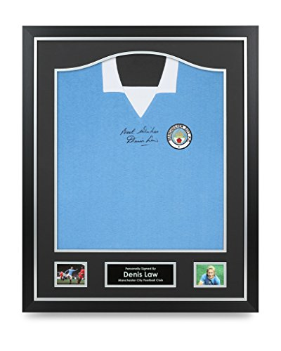 Denis-Law-Signed-Shirt-Manchester-City-Framed-Autograph-Jersey-Memorabilia-COA