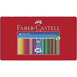Faber-Castell 112435 - Estuche de metal con 36 lápices de colores triangulares de colores agarre Grip, acuarelables, lápices escolares, multicolor