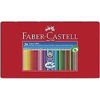 Faber-Castell 112435 - Estuche de metal con 36 lápices de colores triangulares de colores agarre Grip, acuarelables, lápices escolares, multicolor