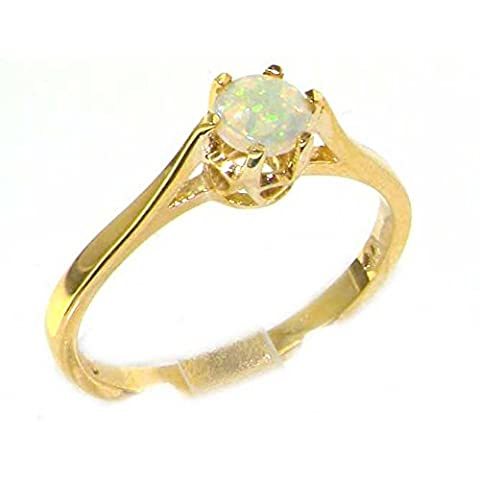 Luxury 9ct Yellow Gold English Made Opal Solitaire Ring - Size K - Finger Sizes K to Z Available
